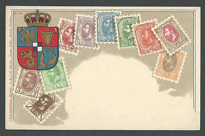Ca 1904 Romania 1903 Stamp Set Portrayed On Mint Card W/Coat Of Arms