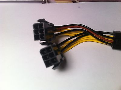 NVIDIA Dual 6 Pin Female to 8 Pin Male Power PCIe Video Card Power Y Cable,Yelow