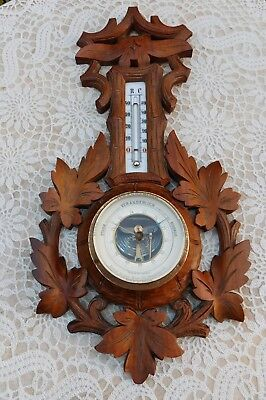 Antique RC Thermometer Barometer Black Forest Carved Wood Rudolf Nowak Austria