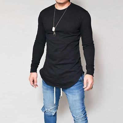 Men's Slim Fit O Neck Long Sleeve Muscle Tee T-shirt Casual Tops Blouse 6A