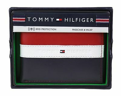 Genuine  Tommy Hilfiger RFID Men's Leather Wallet Passcase Billfold Red Blue NEW