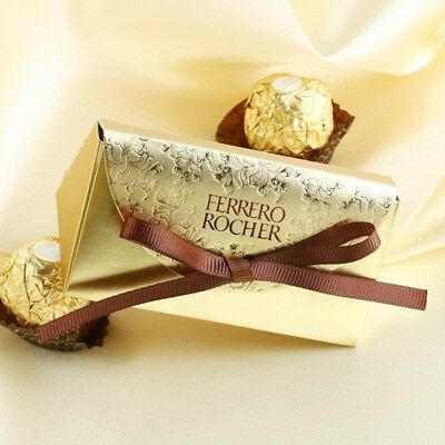 1/50/100X FERRERO ROCHER Candy Box Wedding Party Favour Chocolate Case Gift Gold