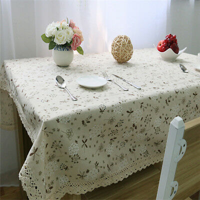 Cotton Linen Table Deco Print Dandelion White Flower Customed Tablecloth LG