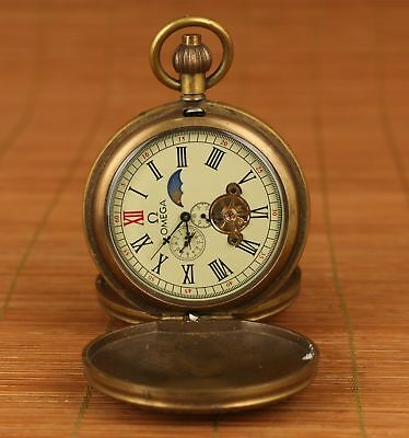 ANTIQUE Old copper inlay cloisonne hand painting angle statue pocket watch clock