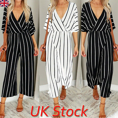 Ladies Womens Summer Jumpsuit Deep V-Neck Clubwear Wide Leg Pants Striped Romper