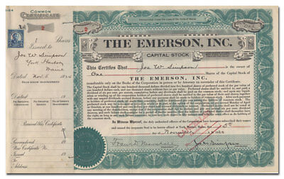 The Emerson, Inc. Stock Certificate (York Harbor, Maine Hotel, Serial #2!)