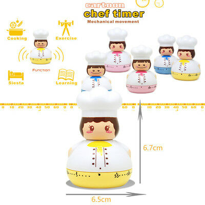 60 Minute Chef Design Wind Up Egg Mechanic Timer Kitchen Cooking Countdown Clock