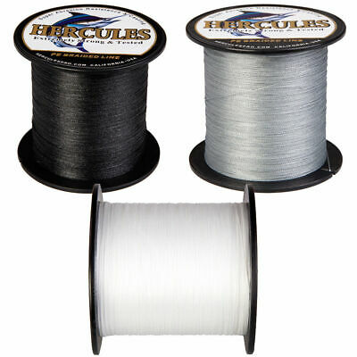 Hercules 300 / 500 /1000m Black White Gray PE Weave Extreme Braided Fishing Line