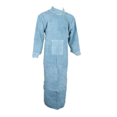 85cm Welding Coat Apron Protective Leather Safety Heat Insulation -Blue