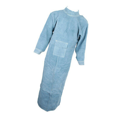 150cm Welding Coat Apron Protective Leather Safety Heat Insulation -Blue