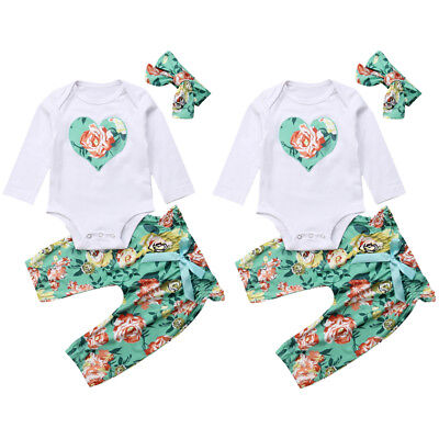 3PCS Newborn Baby Girl Romper Top+Floral Pants+Headband Outfits Clothes US Stock