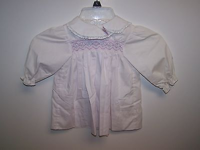 Vintage Baby Girl White/purple  Long Sleeve Dress Size 24M (For Large Doll)