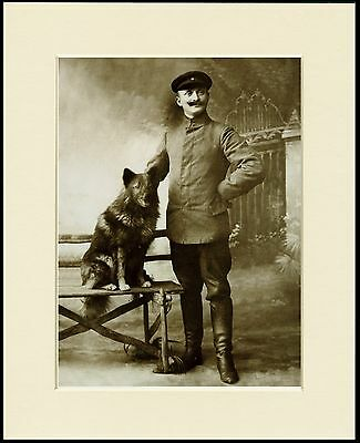 Keeshond Soldier And His Dog Old Time Sepia Image Print Mounted Ready To Frame