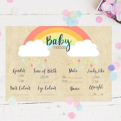 Baby Shower Games Prediction Cards Rainbow Design New Mum To Be Baby Boy Girl