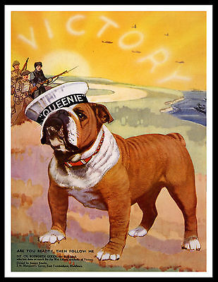 English Bulldog Queenie Ww2 Collecting Dog Lovely Vintage Style Dog Print Poster