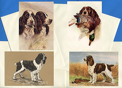 English Springer Spaniel 4 Pack Vintage Style Dog Print Greetings Note Cards #2