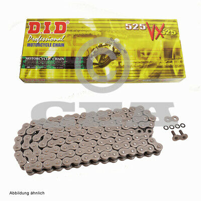 DID x Ring Motorbike Chain 525VX with 124 Rollers Open with Rivet Link