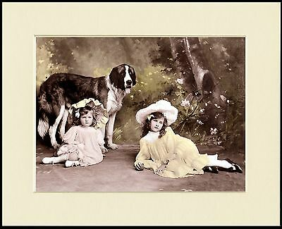 Saint Bernard And Two Little Girls Lovely Dog Print Mounted Ready To Frame