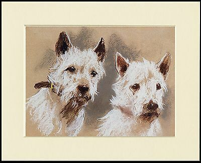 WESTIE TERRIER WITH A BASKET OF FLOWERS DOG PRINT MOUNTED READY TO FRAME