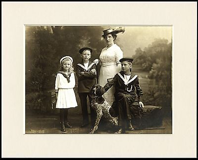 German Shorthaired Pointer And Family Vintage Style Dog Photo Print  Mounted