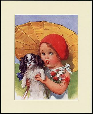 Japanese Chin Little Girl With A Parasol Lovely Dog Print Mounted Ready To Frame