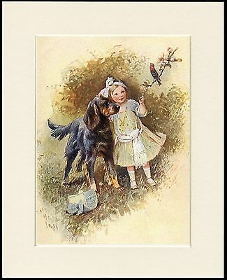 Gordon Setter And Little Girl Charming Dog Print Mounted Ready To Frame