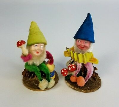 Lot of 2 Vtg West Germany US Zone Pine Cone Santa Elf Elves Gnomes Spun Cotton