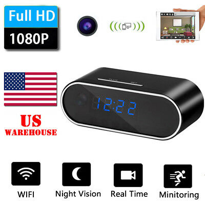 HD1080P WIFI Spy Wireless Hidden Security IP Camera Alarm WebCam Clock  Baby Cam