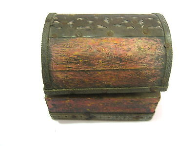 Antique Old Pin / Needle Cushion In Wooden Chest . Brass +  Bronze Decoration