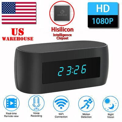 HD 1080P WIFI Spy Hidden Clock Security Wireless Camera Night Vision Alarm Cam