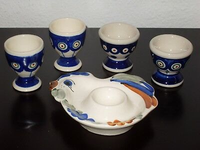 4 Pcs Polish Pottery Art Egg Cups With 1 Plate Made In Poland
