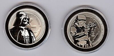 New Zealand $2 Niue Star Wars Darth Vader & Storm Trooper Coin With Capsule