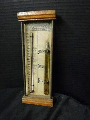 Antique Standard Combined Barometer & Thermometer Chas. E Large