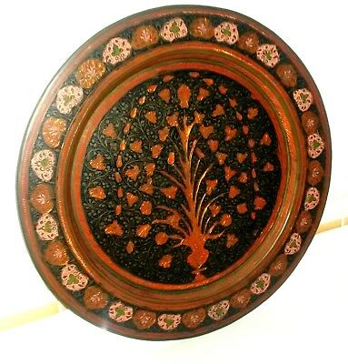 Vintage British India Solid Brass Pre-1947 Etched & Enamelled Plate Charger.