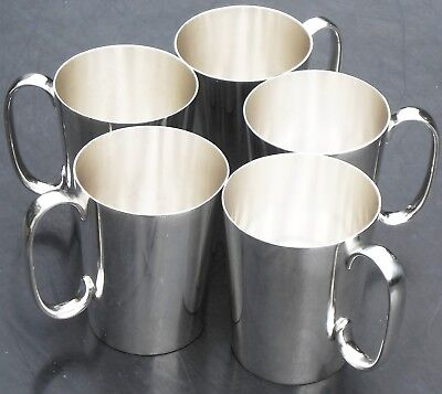 DUNHILL - 5x VINTAGE SILVER PLATED BEER MUGS - HALF PINT SIZE