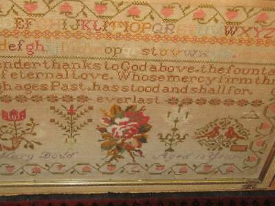 """Large Antique Wool Work Sampler by Mary Dodd with Verse 26"""" x 19"""""""