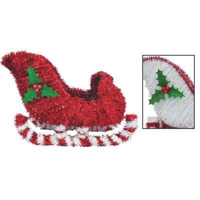 """F C Young 13"""" 3d Tinsel Sleigh 3D-SLEIGH Pack of 6"""