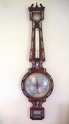 Antique Rosewood 8'' 4 Dial Mother of Pearl Inlaid Barometer