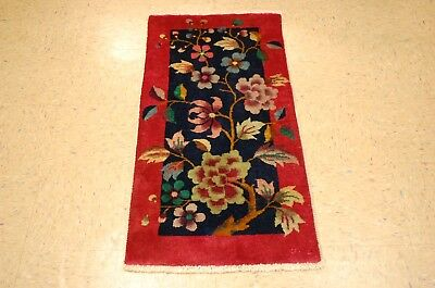 Circa 1920s ANTIQUE  ART DECO WALTER NICHOLS CHINESE RUG 2x4 VEGETABLE DYE