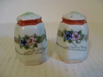Vintage Pair Of Japanese Hand Painted Porcelain Salt And Pepper Shakers