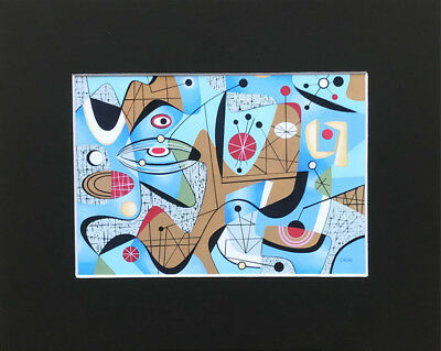MID CENTURY MODERN PRINT aBSTRaCT eames era 50's 60'S googie aToMic Cozmo Luna