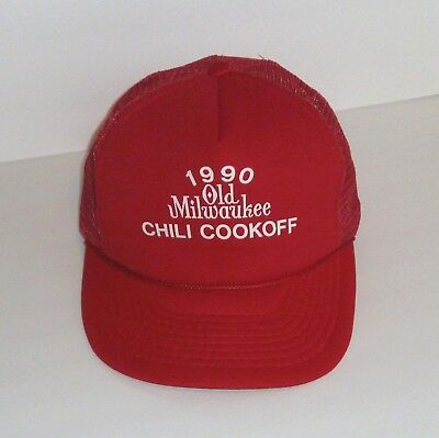Vintage 1990 Old Milwaukee Beer Chili Cook Off Mesh Trucker Cap Hat Snapback