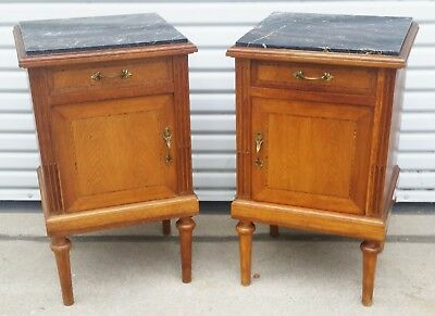 Vintage Pair of French Oak Inlaid Night Stands / End Tables w/ Black Marble Tops