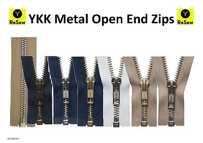 YKK Metal Open End Zip // 33 different colours and sizes - GREAT VALUE