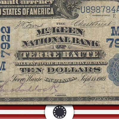 1902 $10 TERRE HAUTE, IN *DATE BACK*  National Currency  VIGO COUNTY  5478