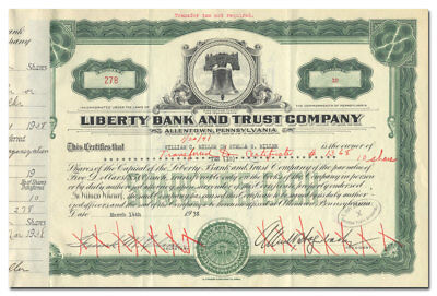 Liberty Bank and Trust Company Stock Certificate (Liberty Bell Vignette)