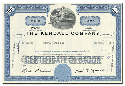 Kendall Company Stock Certificate (Became Part of Colgate-Palmolive, Tyco)