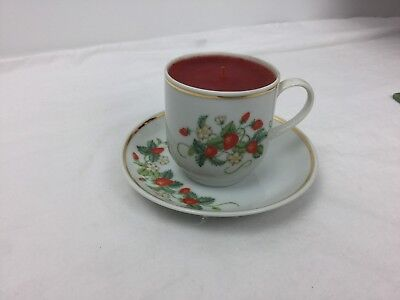 Vintage Avon Expresso Cup & Saucer Candle-1978-Strawberries-22k Gold Trim