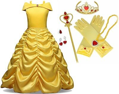 Beauty and the Beast Gown Princess Belle Costume Halloween Party Girls Dress Set