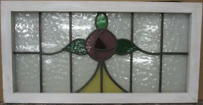 "OLD ENGLISH LEADED STAINED GLASS WINDOW TRANSOM Stunning Floral 34.5"" x 17.75"""